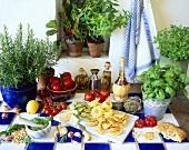 Italian still life with pasta and herbs