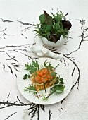 Jellied salmon with a wild herb salad