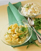Classic potato salad and potato salad with apples and celery