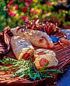 Light bread stuffed with chorizo