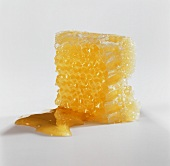 A honeycomb against a white background