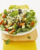 Greek farmers salad with a feta dressing