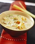 Coconut milk soup with fish and seafood