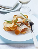 Marinated whitefish with homemade chips