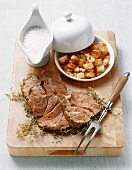 Neck of lamb with thyme sauce and fried potatoes