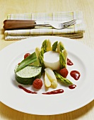 Asparagus mousse and chive terrine with raspberry sauce.