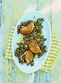Lentil salad with quail