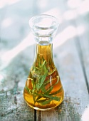 Tarragon oil in a carafe