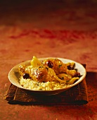 Chicken tajine with salted lemons on a bed of couscous
