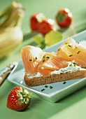 Toast with chive quark and smoked salmon