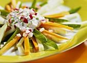 Raw spring vegetables with radish quark