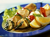 Swordfish and vegetable kebabs