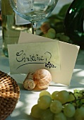 Place cards with snail shells and corks