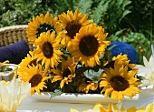 A bunch of sunflowers as table decoration