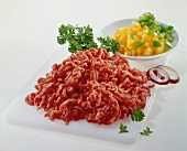 Minced pork and diced yellow pepper