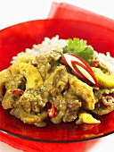 Lamb curry with apple and banana