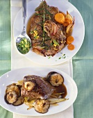 Sliced lamb with carrots and ostrich steak with shiitake mushrooms