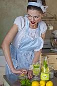A retro-style girl juicing a lemon