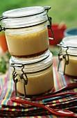 Creme brulee in preserving jars
