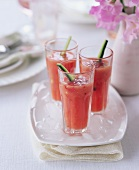 Glasses of gazpacho