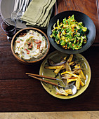 Potato and apple puree with bacon, a savoy cabbage salad and a parsnip salad