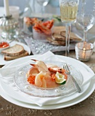 A plate of seafood with lemon mayonnaise