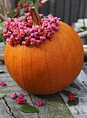 A giant pumpkin with a wreath of spindle flowers