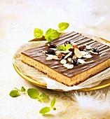 Mazurek (Polish Easter cake) with almonds and a chocolate glaze