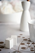 White pepper and salt shakers on a patterned table cloth