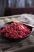 Beetroot risotto with leek and bacon