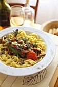 Home-made tagliatelle with six types of mushroom