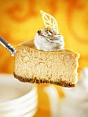 A piece of pumpkin cheesecake