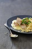 Tuna with curry sauce and bulgur wheat