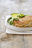 Sea bass with a muesli crust and courgette strips