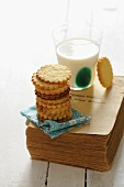 Vanilla biscuits and a glass of milk
