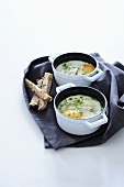 Oeufs cocotte with asparagus and chives