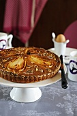 Pear cake with walnuts