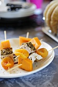 Chicken kebabs with cheese and dried apricots