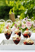Summery berry desserts with cream