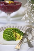 Christmas savoy cabbage parcels