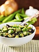 Okra pods with garlic