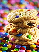 Oat cookies with colourful chocolate beans