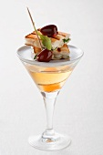 Martini and a goats' cheese toast canape