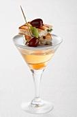 Martini and a goats' cheese toast canape