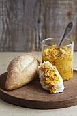 Pumpkin pesto and white bread