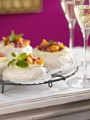 Pavlovas with mascarpone and fruit