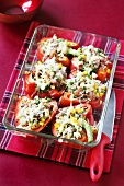 Stuffed peppers in a baking dish