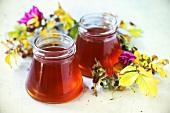 Jars of rose jelly