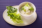Parmesan dressing with lettuce leaves