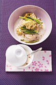 Sword fish with Thai asparagus and cauliflower in ginger sauce